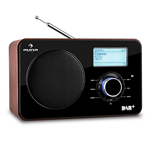 auna Worldwide Internetradio WLAN Radio mit LCD-Display, mahagoni