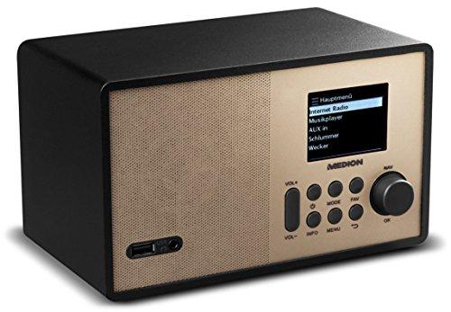 MEDION E85059 MD 87559 Internetradio, 2,4 Zoll TFT Farb-Display, 40 Speicherplätze, Holzgehäuse, USB, champagner