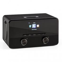 auna Connect 100 BK Internetradio WLAN Radio Mediaplayer (MP3-fähiger USB-Port, Breitbandlautsprecher, Bluetooth Funktion, Weckfunktion) schwarz -