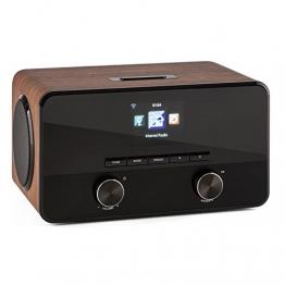 auna Connect 100 WN Internetradio WLAN Radio Mediaplayer (MP3-fähiger USB-Port, Breitbandlautsprecher, Bluetooth Funktion, Weckfunktion) walnuss -