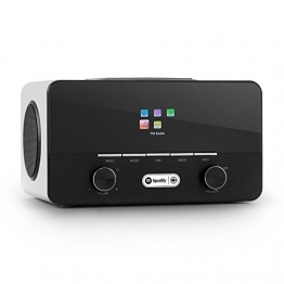 auna Connect 150 WH 2.1 Internetradio WLAN Küchenradio (Spotify Connect, DAB+, Wifi, AUX, USB- SD-Slots, Dual Weckfunktionen, Holz-Gehäuse) weiß -