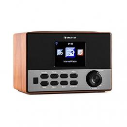 auna Connect 90 WN Internetradio WLAN Küchenradio Netzwerkplayer (Dual Weckfunktion, Farbdisplay, Wifi, MP3-fähiger USB-Slot) walnuss -