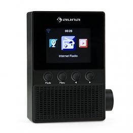 """auna Digi Plug Steckdosen Internetradio mit 2,4 """" TFT-Display (Radiowecker, App-Steuerung, WLAN, Dual-Alarm) schwarz -"""