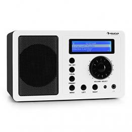 auna IR-130 WH Internetradio WLAN Radio (Soft-Touch-Oberfläche, 8000 Internetradio-Stationen, Breitbandlautsprecher, Fernbedienung) weiß -