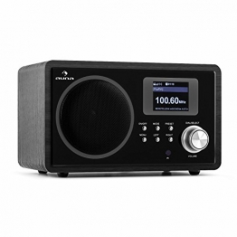 auna IR-150 BK Internetradio WLAN Radio im Retro-Design (Wifi-Musik-Streaming, integrierter UKW-Radiowecker, 250 digitale Speicherplätze) schwarz -