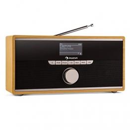auna Weimar Internetradio WLAN Radio Radiowecker (DAB/DAB+/UKW-Tuner, Bluetooth, 2 Wecker, Fullrange-Speaker, Holzgehäuse) buche -