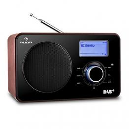 auna Worldwide Internetradio WLAN Radio mit LCD-Display (DAB / DAB+ / UKW Tuner, Breitbandlautsprecher, Dual-Radiowecker) mahagoni -