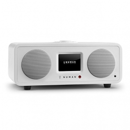 NUMAN One - 2.1 Design Internetradio WLAN Radio mit Spotify Connect (DAB / DAB+ / UKW Tuner, Bluetooth Funktion, Weckfunktion, kabelloses Wifi Musik-Streaming) weiß -