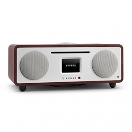 NUMAN Two - 2.1 Design Internetradio Digitalradio (Wi-Fi und LAN-Schnittstelle, CD-Player, DAB/DAB+ Tuner, USB-Port, Bluetooth, Spotify Connect, 30 Watt RMS, Steuerung per App oder Fernbedienung) wenge -