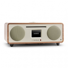 NUMAN Two - 2.1 Design Internetradio Digitalradio (Wi-Fi und LAN-Schnittstelle, CD-Player, DAB/DAB+ Tuner, USB-Port, Bluetooth, Spotify Connect, 30 Watt RMS, Steuerung per App oder Fernbedienung) walnuss -