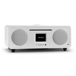 NUMAN Two - 2.1 Design Internetradio Digitalradio (Wi-Fi und LAN-Schnittstelle, CD-Player, DAB/DAB+ Tuner, USB-Port, Bluetooth, Spotify Connect, 30 Watt RMS, Steuerung per App oder Fernbedienung) Weiß -