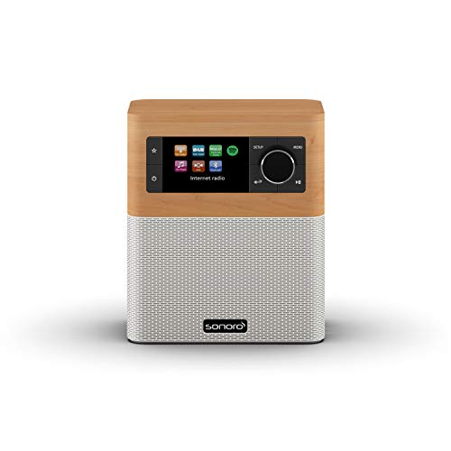 sonoro Stream Internetradio (FM/DAB/DAB+/WLAN, AUX-in, Bluetooth, Multiroom, Spotify Connect) Ahorn/Weiß - Digital-Radio - Küche, Badezimmer
